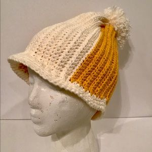 Accessories - Knitted Orange and Cream Hat (C18)